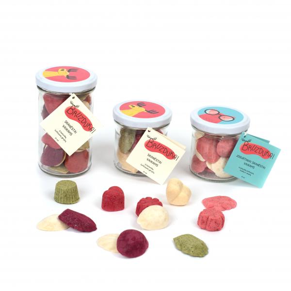 Bruzdukų skanėstai stiklainėliuose - įvairių uogų, vaisių, jogurtio skonių. Ekologišta, tvari pakuotė.